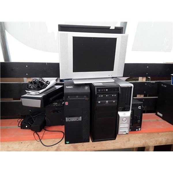 Box lot of 4 desktop computers two monitors and more