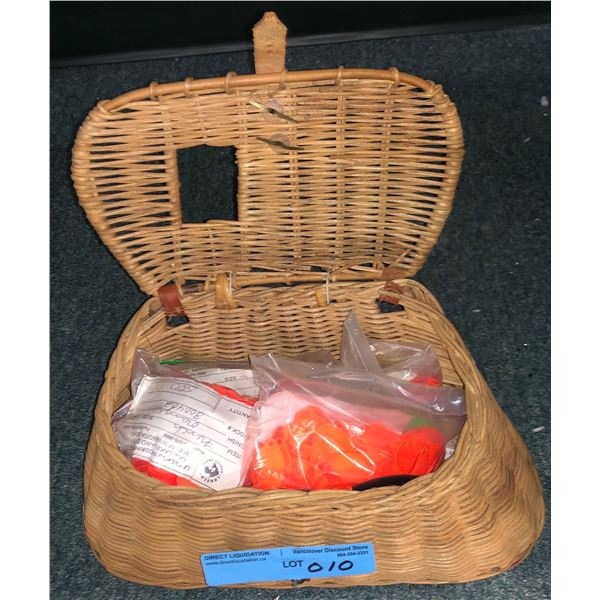 Wicker fishing creel full of  assorted new spinner blades