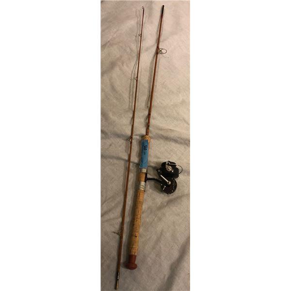 Arjoi split cane 2 piece spinning rod made in Sweden w/Garcia Mitchell 305 spinning reel