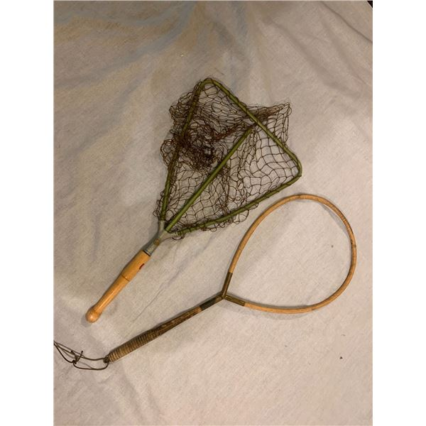2 Vintage fishing trout nets - 1 w/missing net