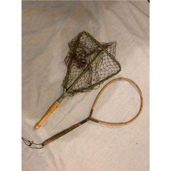 2 Vintage fishing trout nets - 1 w/missing net