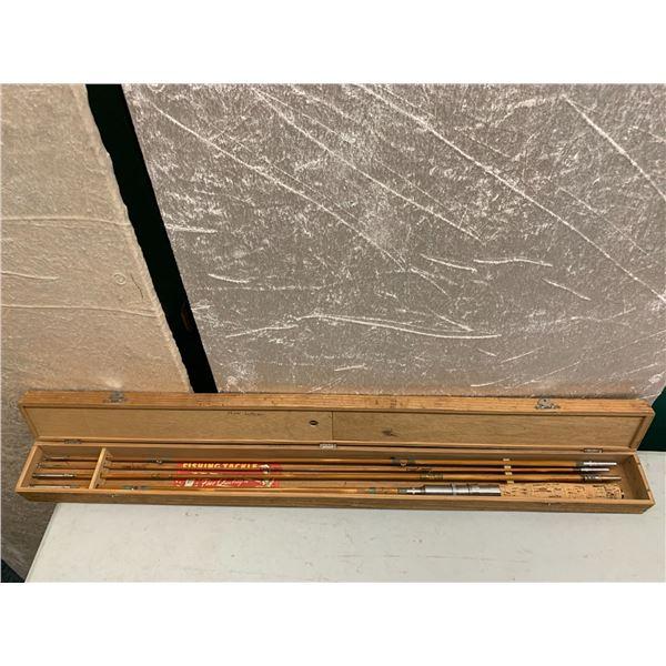 4 pc. antique split-cane fishing rod w/wooden case - needs some repair