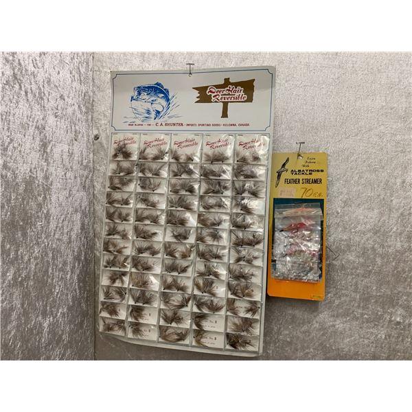 2 vintage store displays of fishing flies
