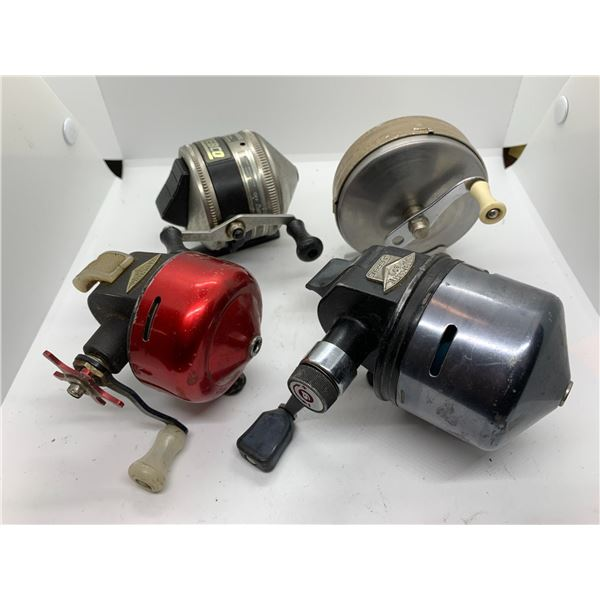 4 Assorted spin cast reels