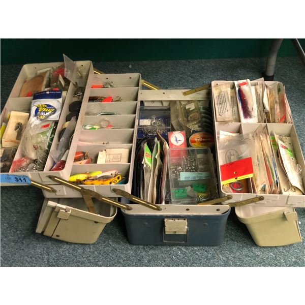 Tackle box and contents (mostly ocean tackle)