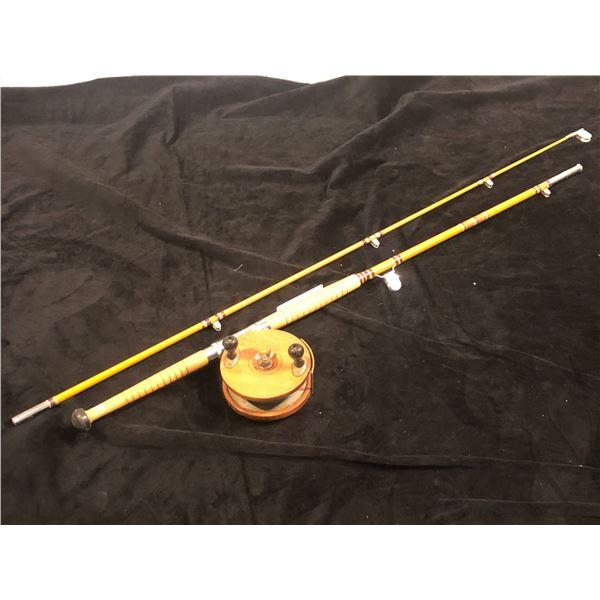 """Salmon trolling rod w/ peetz 6"""" wooden reel 8ft"""