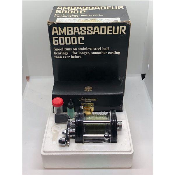 Abu Sweden ambassadeur 6000c level wind reel w/ orginal box and leather