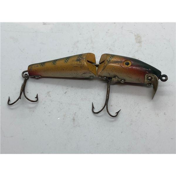 "Vintage 4 1/2"" arjon jointed wooden fishing lure"