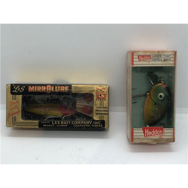 2 Vintage fishing lures - L&S Mirrorlure & Heddon w/Original boxes