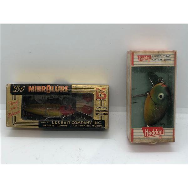 2 Vintage fishing lures - L&S Mirrorlure & Heddon w/Original boxes