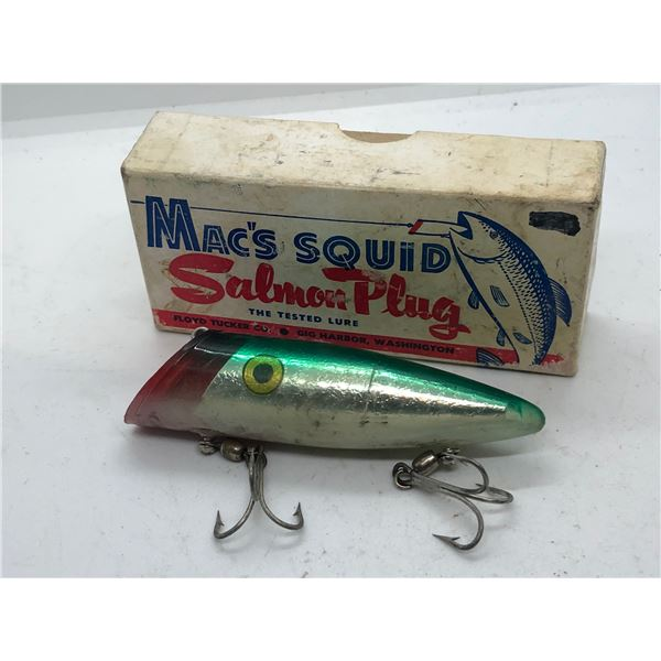 """Vintage Mac's squid 4"""" salmon plug w/original box"""