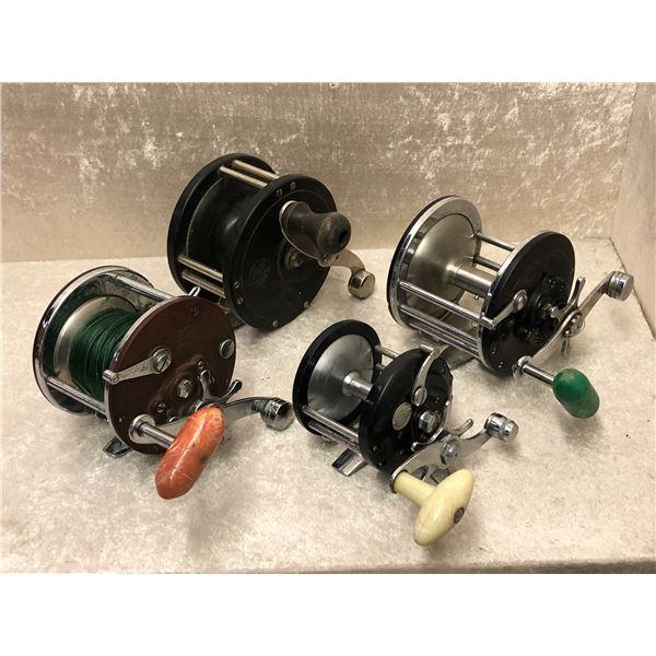 4 Penn assorted level wind fishing reels