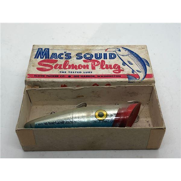 "Vintage Mac's Squid 4"" salmon plug ""#10G Silver Mac blue back"" w/original box"