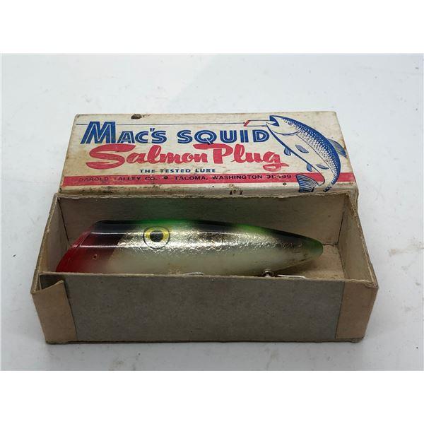 """Vintage Mac's Squid 4"""" salmon plug """"#5B Mac's Fish blue back"""" w/original box"""
