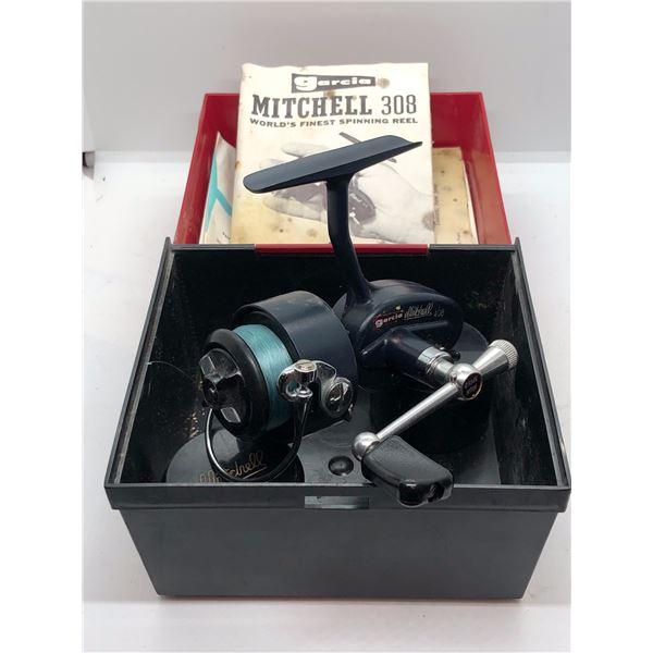 Vintage garcia mitchell #408 spinning reel w/ two extra spools comes w/orginal box