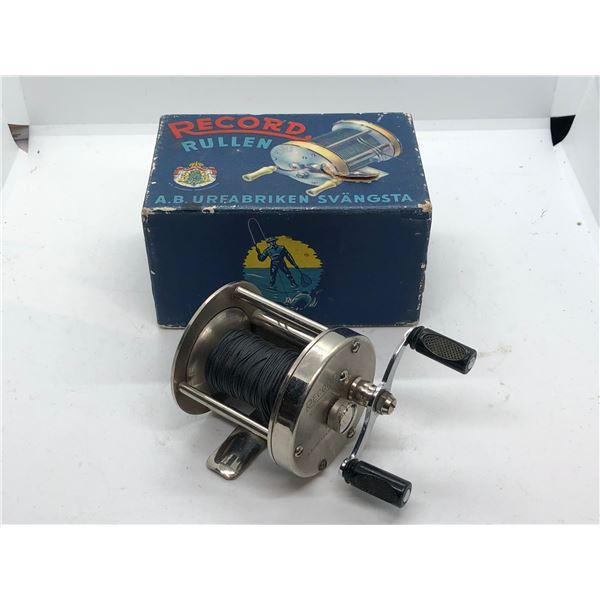 VIntage Record Rullen A.B. URFABRIKEN SVANGSTA No. 1500 Level wind fishing reel with Original Box