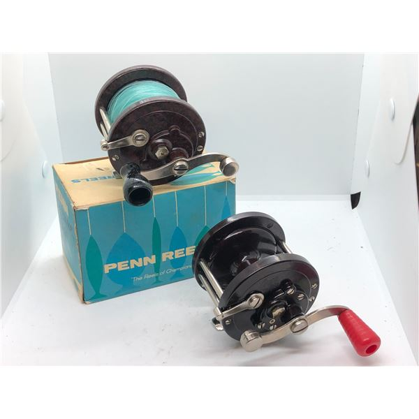 2 Vintage Penn level wind reels - #78 & #78 w/ 1 original box
