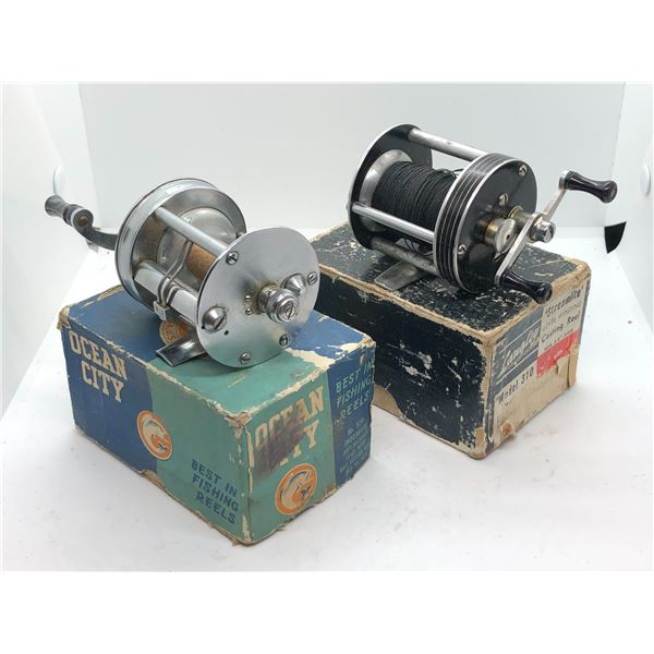 2 Vintage level wind reels w/original boxes - ocean city #970 & langley streamlite