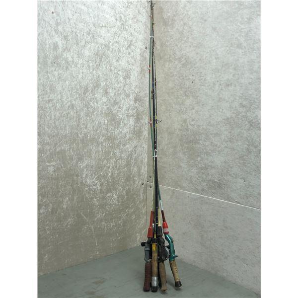 Bundle of 6 assorted fishing rods & 2 reels