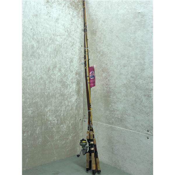 Bundle of 6 assorted fishing rod & 1 reel