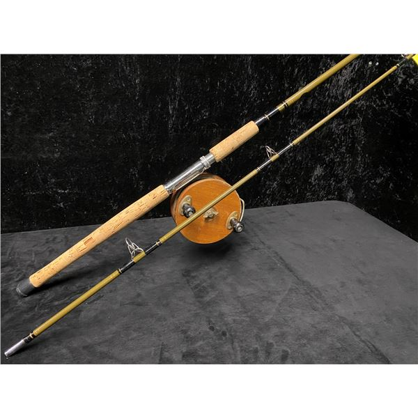 """8ft Peetz trolling rod complete with 6"""" classic wooden reel"""
