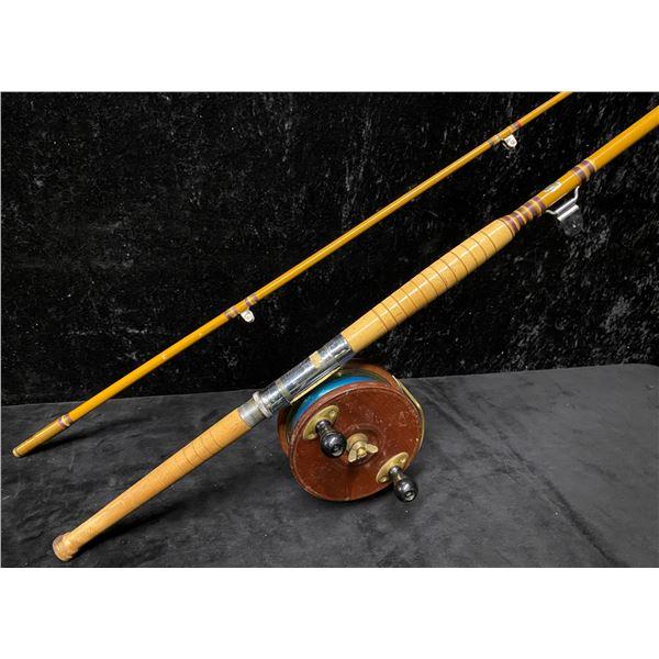 8ft Peetz trolling rod complete w/ 6  classic wooden peetz reel