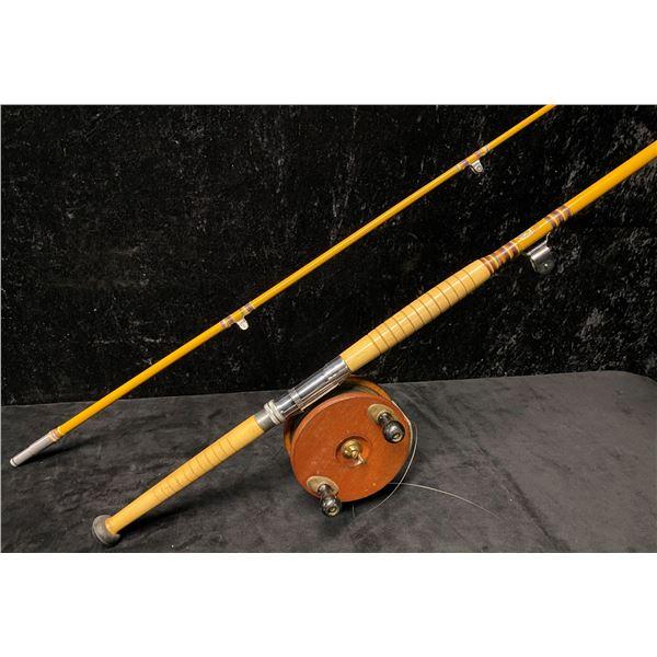 """8ft Peetz trolling rod complete w/ 6"""" classic wooden peetz reel"""