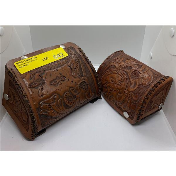 2 vintage tooled leather reel cases