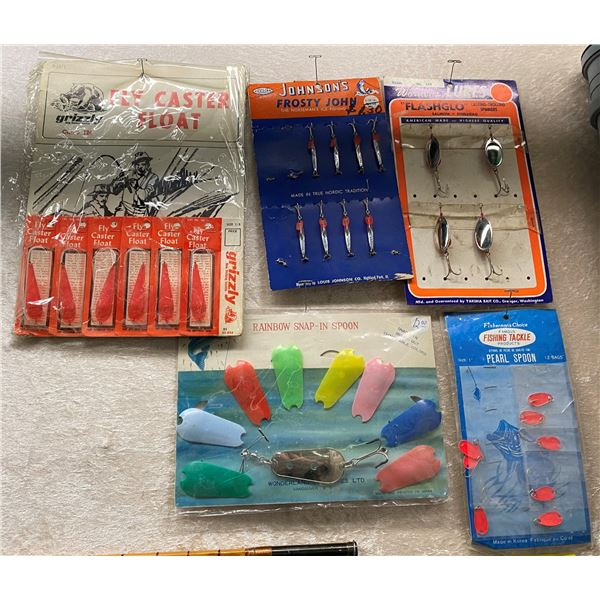 5 Assorted vintage store tackle displays w/ tackle