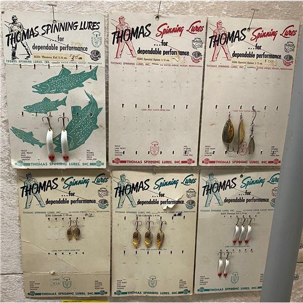 6 Thomas vintage advertising display w/ lures