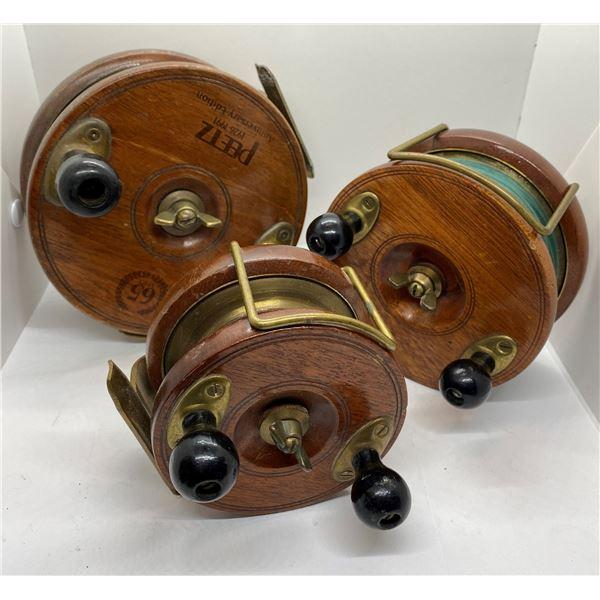 "Group of 3 antique peetz classic wooden trolling reels - 6""/5""/4"""