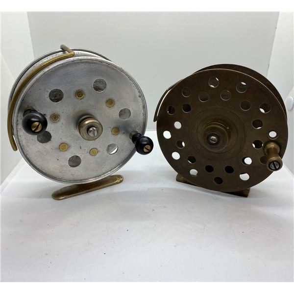 2 Vintage center-pin reels one brass one aluminum