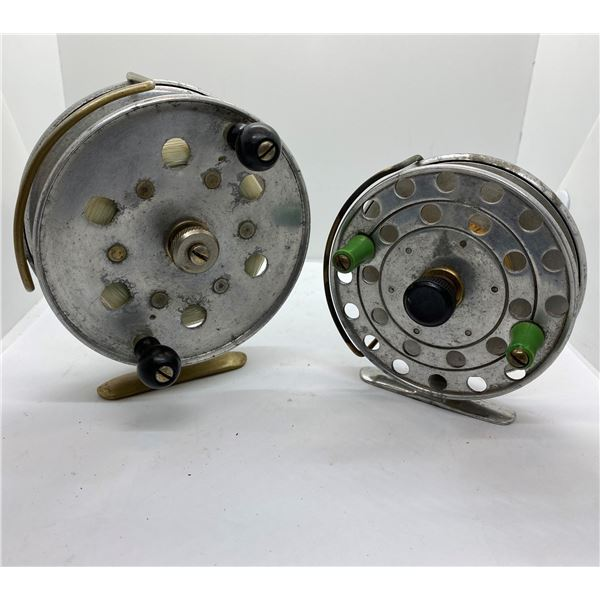 2 Vintage aluminum and brass center-pin reels
