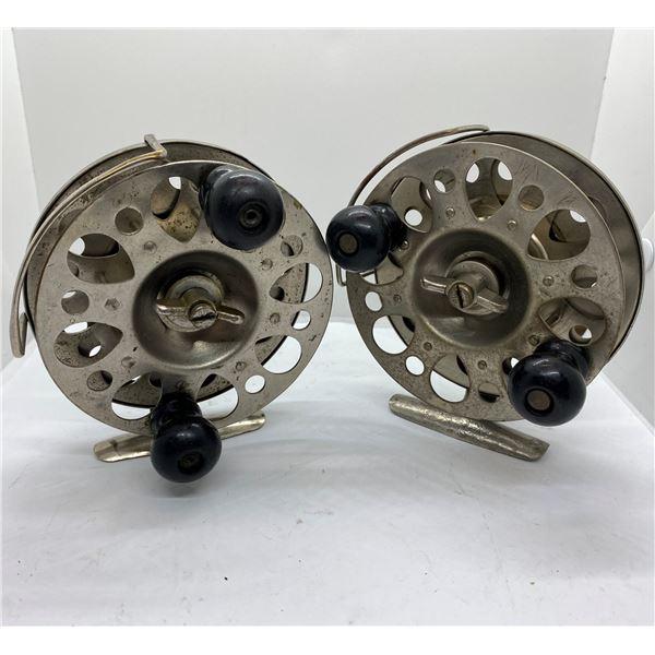 "Pair Vintage jubilee 4 1/2"" center-pin salmon reels Gibbs tools Vancouver BC"