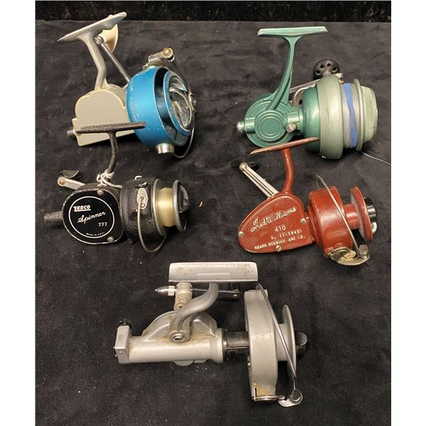 Group of 5 antique spinning reels Fred Williams 410/Columbian 65/pflueger pelican1020/zebco 777-ru p