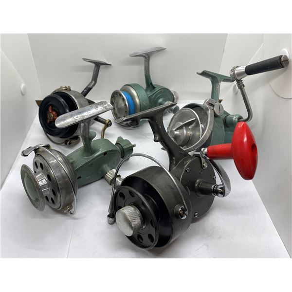 Group of 5 antique spinning reels