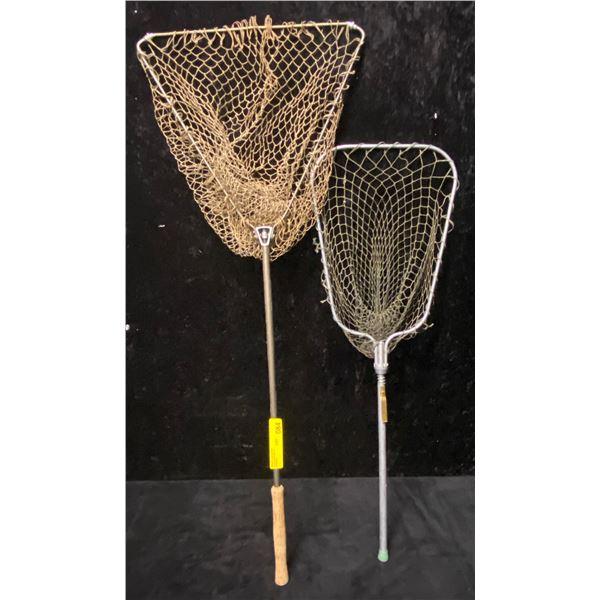 2 Vintage foldup trout nets-aluminum w/ brass & cork handle