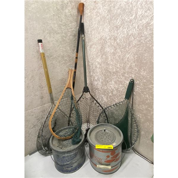 Group of 4 assorted trout nets & 2 minnow buckets