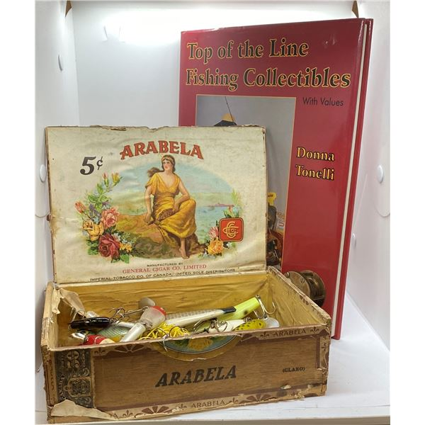 Vintage cigar box w/ 18 assorted vintage fishing lures & one collectable tackie hardcover book