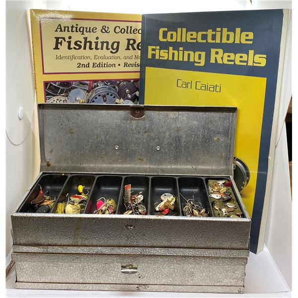 Two Umco aluminium fishing lure boxes filled with assorted spoons & lures & two collectable fishing