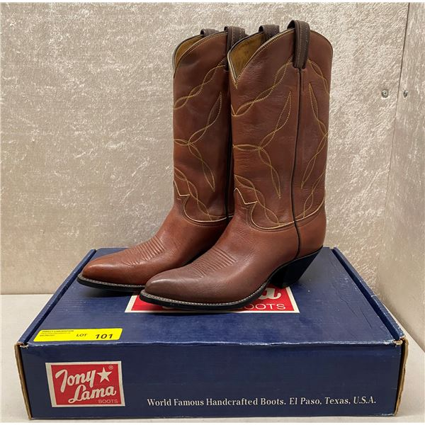 Pair of Tony Lama rust painted cowboy boots - size 10 (NOS)
