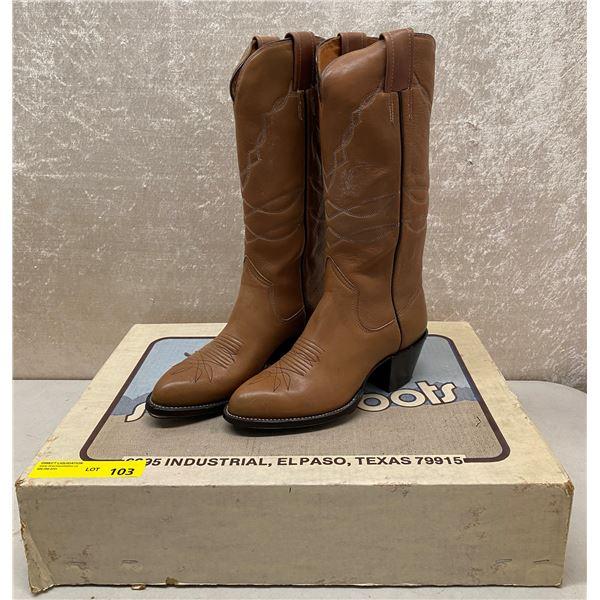 Pair of Sanders tan mule cowboy boots - size 6 (NOS)