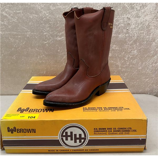 Pair of HH brown rust oil resistant cowboy boots - size 6 (NOS)