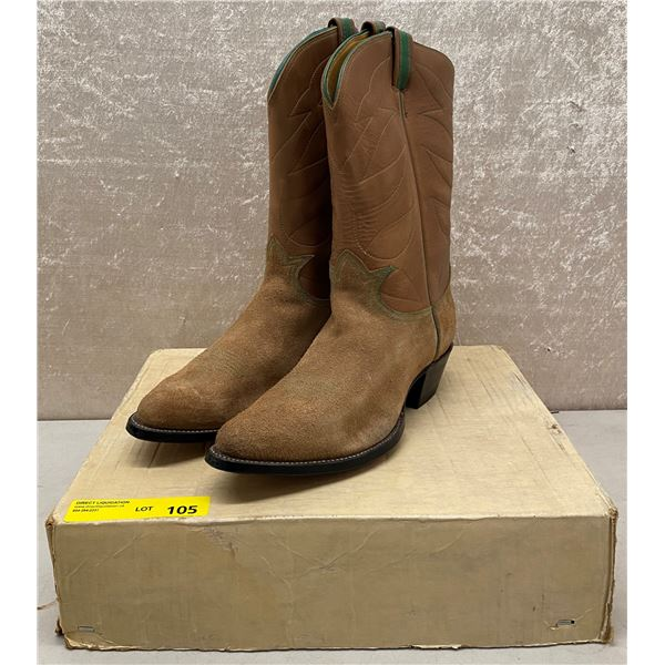 Pair of Tony Lama ruff out brown cowboy boots - size 12 (NOS)