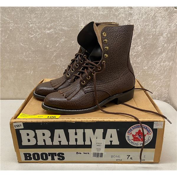 Pair of Brahma brown lace boots - size 7 (NOS)