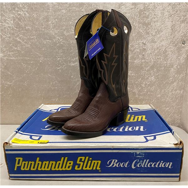 Pair of Panhandle slim brown shoulders chocolate cowboy boots - size 7.5 (NOS)