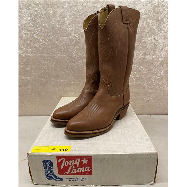 Pair of Tony Lama retan natural rust cowboy boots size 8 1/2 (NOS)