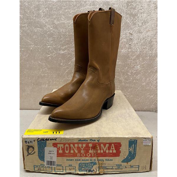Pair of Tony Lama tan cheyenne cowboy boots size 11 1/2 (NOS)