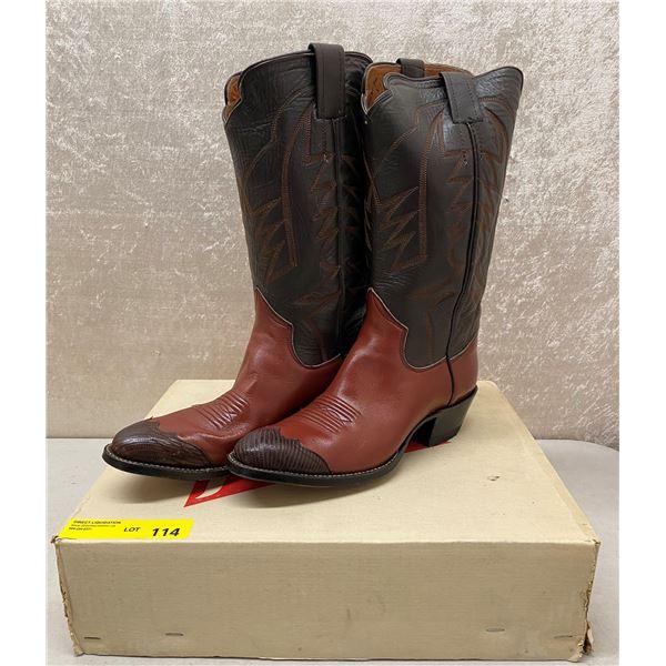Pair of Sanders cedar/brown toe tip cowboy boots size 11 (NOS)