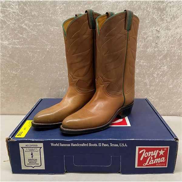 Pair of Tony Lama chemigum brown cowboy boots size 9 (NOS)